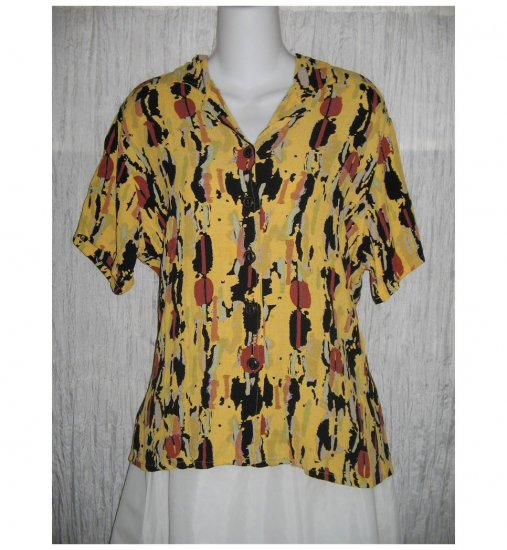 Jeanne Engelhart FLAX Yellow Rayon Button Shirt Tunic Top Small S