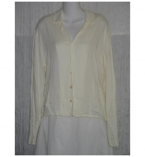 Jeanne Engelhart FLAX White Shapely Rayon Button Shirt Tunic Top Small S