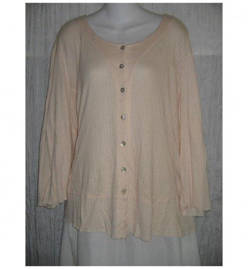 Jeanne Engelhart FLAX Pink Cotton Modal Button Shirt Tunic Top 2G