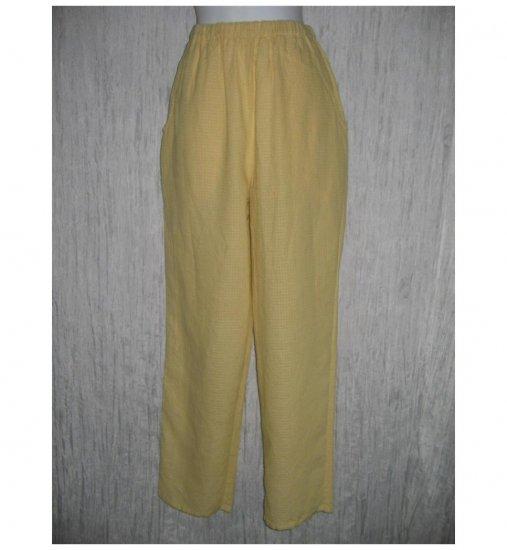 New FLAX Sunny Pucker Linen Pants Jeanne Engelhart Small S