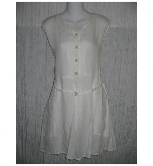 Jeanne Engelhart FLAX White Linen Shorts Shirt Romper Outfit Small S