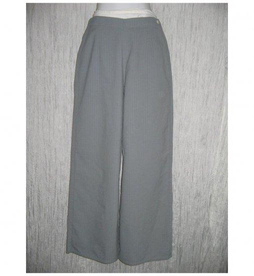 FLAX Blue Gray Textured Cotton Floods Pants Jeanne Engelhart Small S