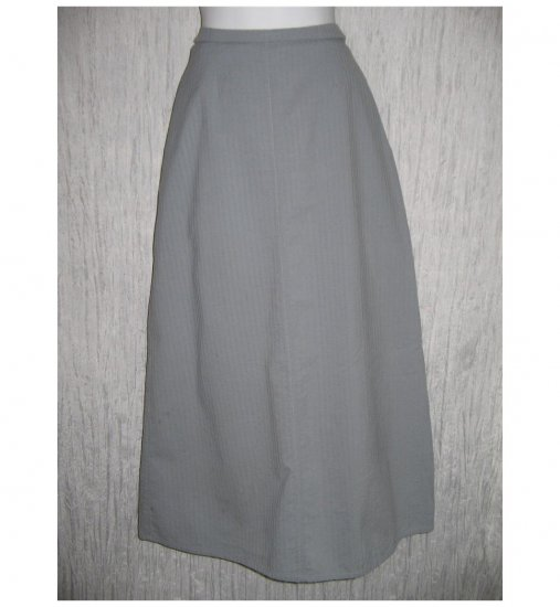 FLAX Long Full Blue Gray Textured Cotton Skirt Jeanne Engelhart Small S