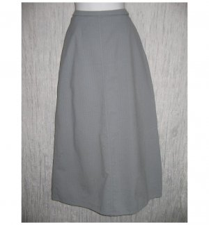 FLAX Long Full Blue Gray Textured Cotton Skirt Jeanne Engelhart Small S