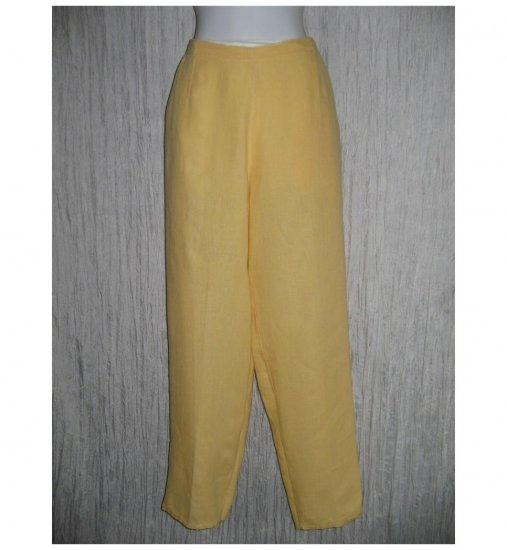 FLAX Long Shapely Yellow Linen Pants Jeanne Engelhart Medium M