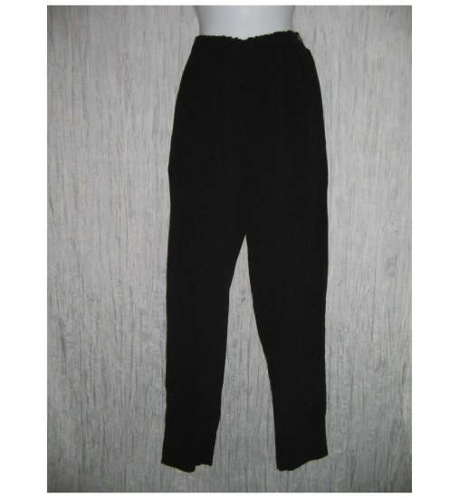 R-Clan Jeanne Engelhart FLAX Black Textured Rayon Pants Small S