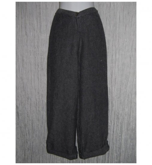 FLAX by Jeanne Engelhart Blue Linen Button Tab Pants Trousers Small S