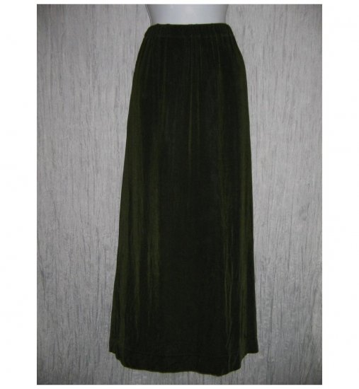 FLAX by Jeannge Engelhart Long Green Slinky Skirt 3G