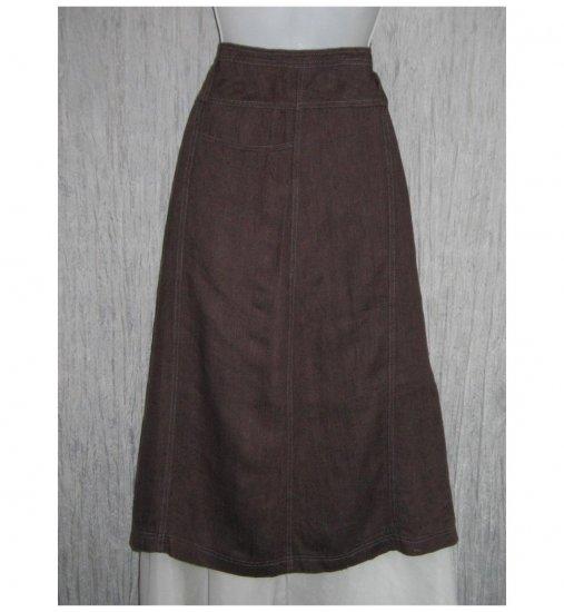 New SOLITAIRE Shapely Brown Linen Calf Length Skirt Medium M