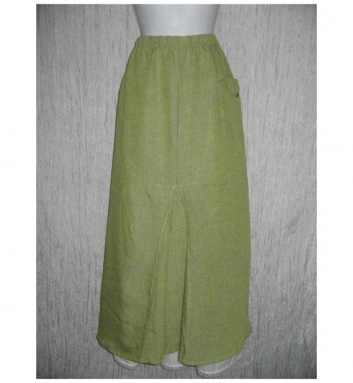 Flax by Jeanne Engelhart Green Linen Long & Full Skirt 3G
