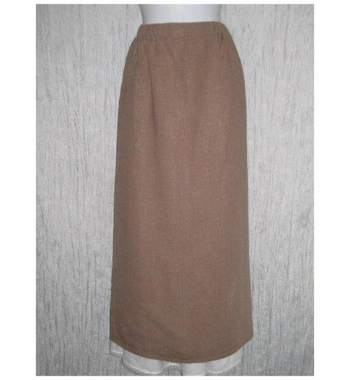 Flax by Jeanne Engelhart Brown Shapely Linen Skirt Medium M