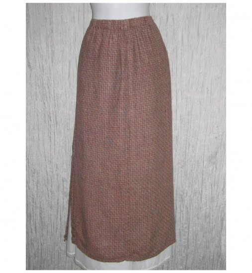 Flax by Jeanne Engelhart Brick Red Basket Linen Skirt Medium M