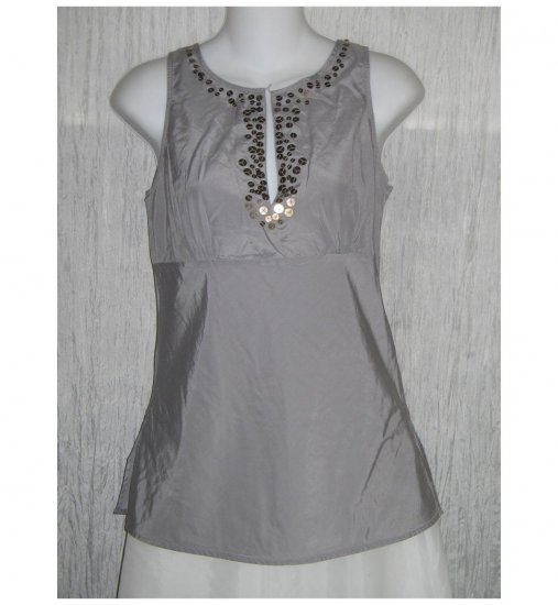 NWOT New York & Company Shapely Blue Gray Silk Sequin Tank Top Shirt 4