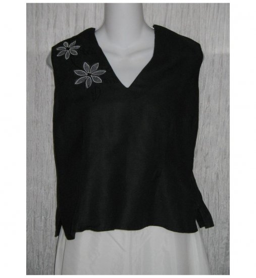 Dina K Black Embroidered Ramie Viscose Tank Top Shirt Large L