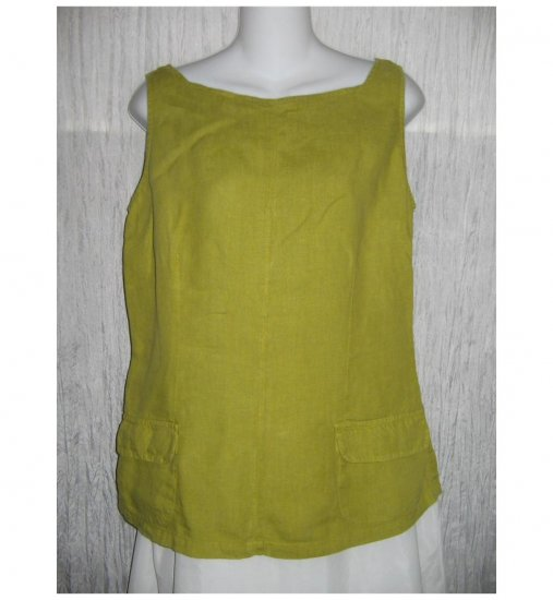120% Lino 9wp Shapely Green Linen Tank Top Shirt X-Small XS