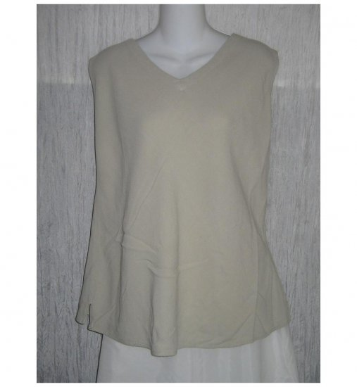 Cut Loose Beige Textured Rayon Tank Top Shirt Medium M