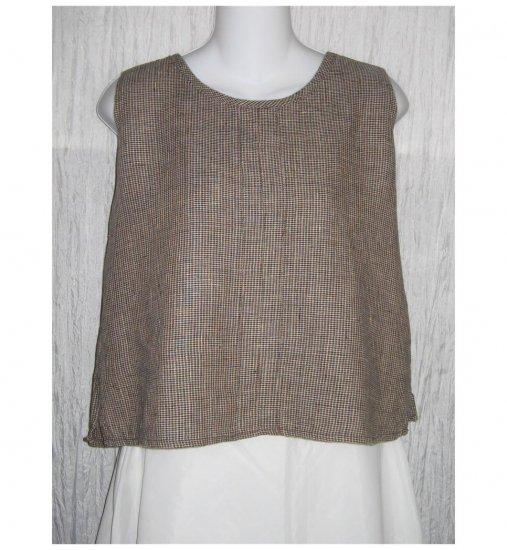 Jeanne Engelhart FLAX Checked Linen Tank Top Shirt Petite