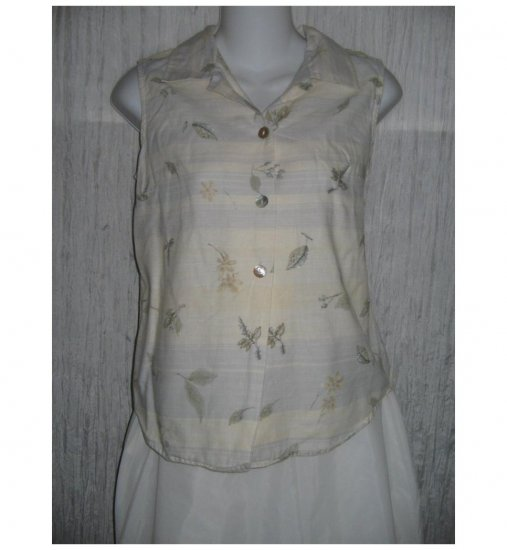 Lemon Grass Striped Floral Linen Cotton Collared Tank Top Shirt Small S