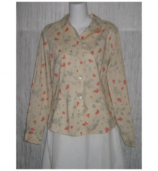 Gap Pale Floral Shapely Cotton Button Shirt Top Large L