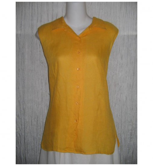 Richard Malcolm Orange Irish Linen Collared Tank Top Shirt 14