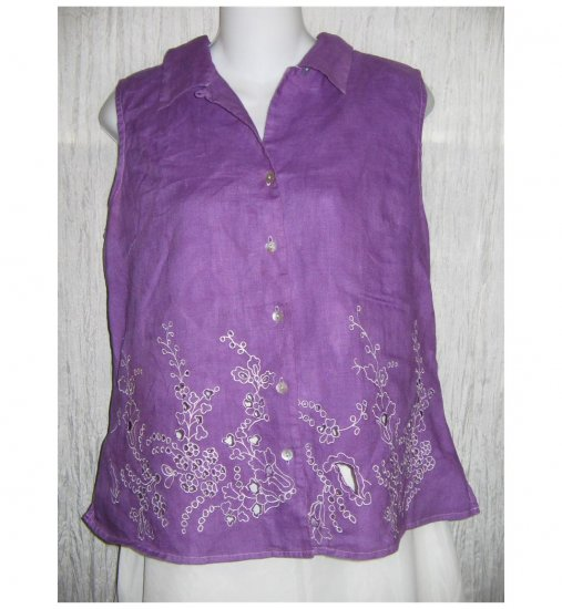 Richard Malcolm Purple Irish Linen Collared Tank Top Shirt Large