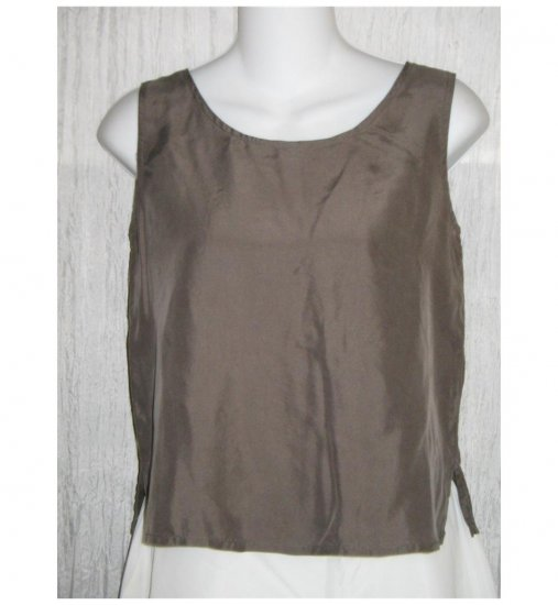 EILEEN FISHER Slinky Gray Silk Tank Shell Shirt X-Small XS