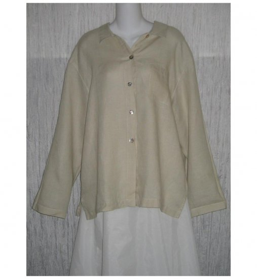 Gerties Taupe Linen Button Shirt Tunic Top X-Large XL