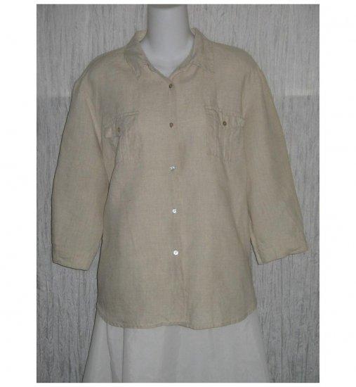 Edward Natural Irish Linen Button Shirt Tunic Top X-Large XL