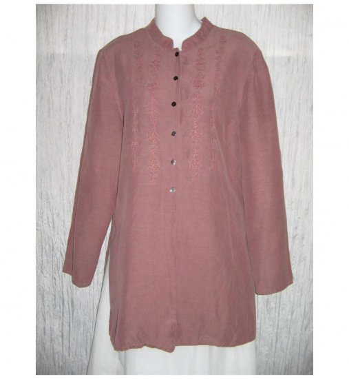 J. Jill Long Mauve Silk & Linen Tunic Top Button Shirt 6