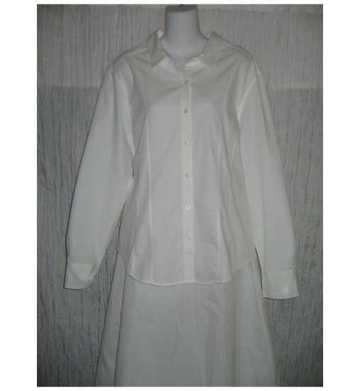 Out of the Blue J. Jill Shapely White Cotton Button Shirt Tunic Top X-Large XL