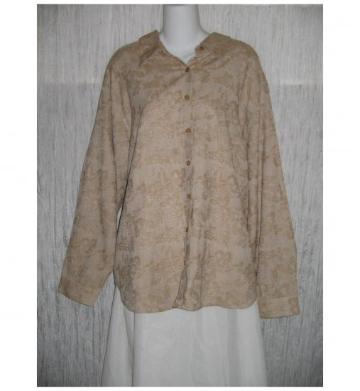 NWT C.S.T. Sport Brown Floral Weave Button Shirt Tunic Top 22W