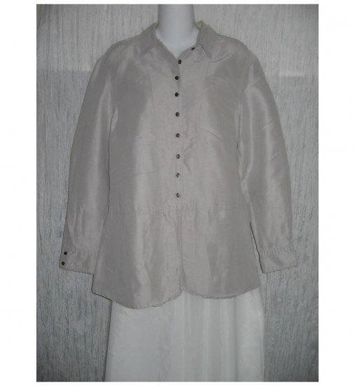 J. Jill Lavender Gray Silk & Linen Skirted Button Shirt Tunic Top Small S