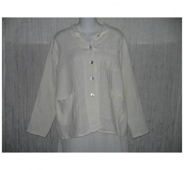 Match Point White Linen Button Jacket Top Small Medium S M