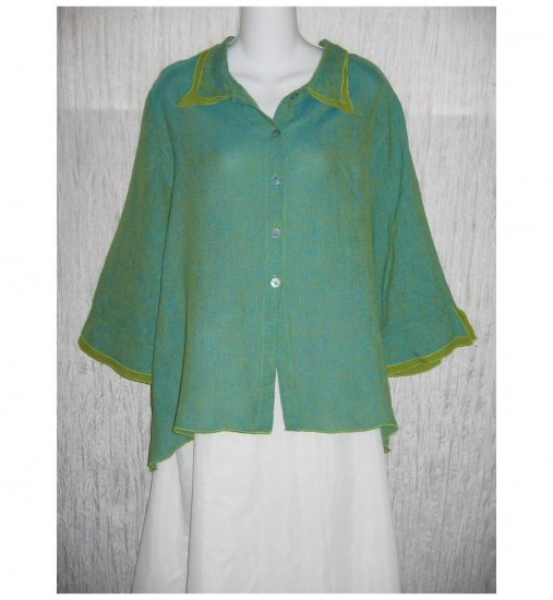CTC Carol Turner Collection Green Linen Button Shirt Tunic Top Large L