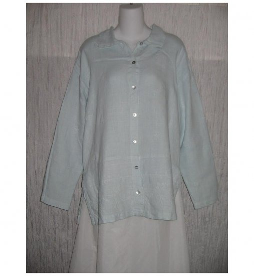 Via Vai by Pollero Blue Embroidered Linen Tunic Top Shirt Small S