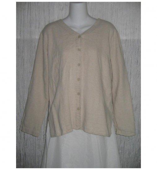 Natural Oatmeal Shapely Linen Button Shirt Tunic Top Medium M
