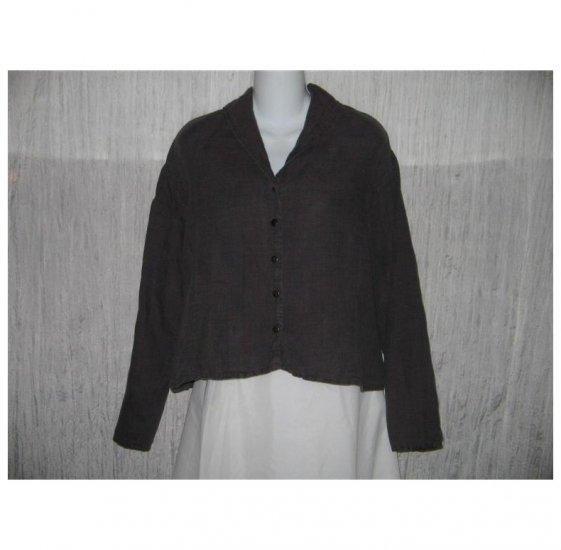 Jeanne Engelhart FLAX Shapely Linen Snap Shirt Tunic Top Medium M