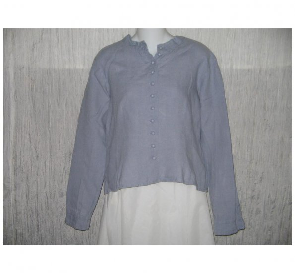 SOLITAIRE Blue Shapely Linen Button Shirt Top Large L