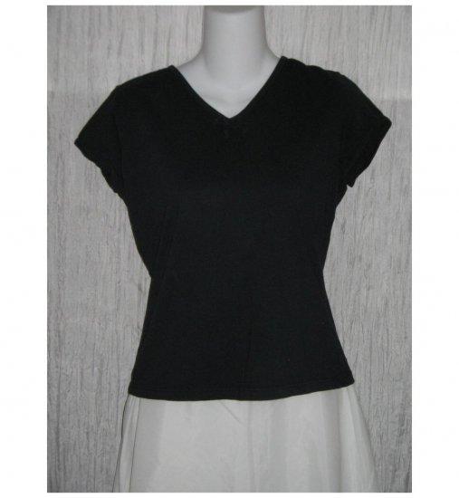 SOLITAIRE Cute Simple Black Cotton Tee Shirt Large L