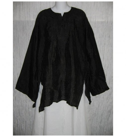 L' Pogee Long Black Textured Pullover Shirt Tunic Top Large L