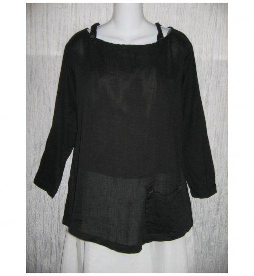 Patina Long Black Lagenlook Pullover Shirt Tunic Top Small S