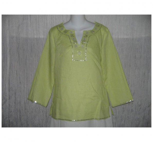 Malcolm & Co. Green Irish Linen Tunic Top Shirt Small S