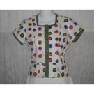 Solitaire Shapely Cotton Button Shirt Top X-Small XS