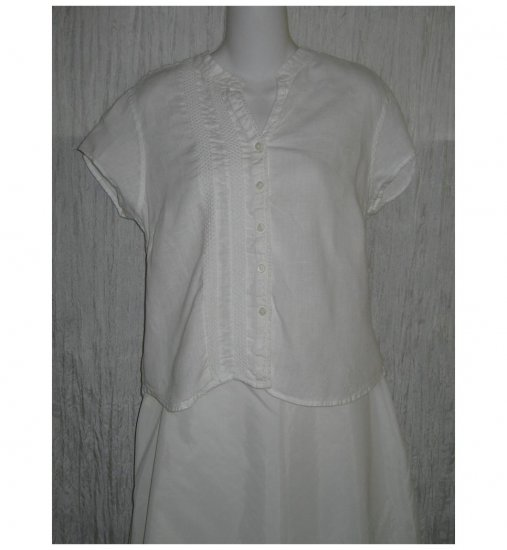J. Jill White Laced Trimmed Linen Button Shirt Top Medium Petite MP