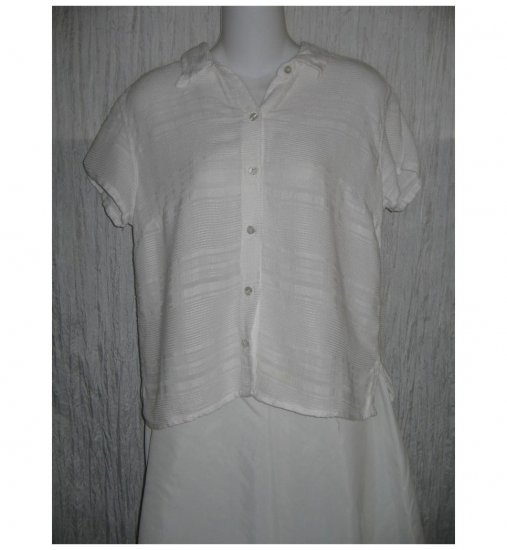 Fresh Produce White Linen & Rayon Button Shirt Top Large L