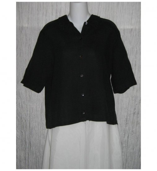EILEEN FISHER Black Irish Linen Button Shirt Tunic Top Large L
