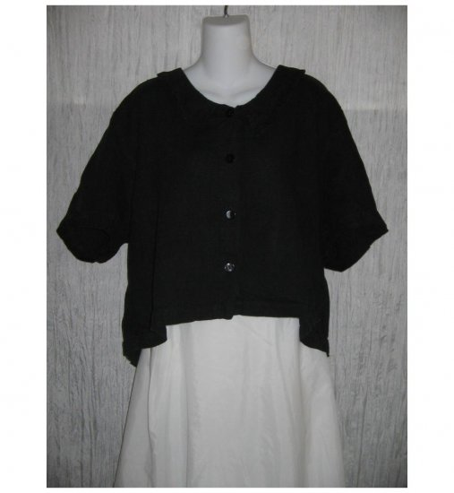 Black Boutique Cropped Linen Lagenlook Linen Button Shirt Top Large L