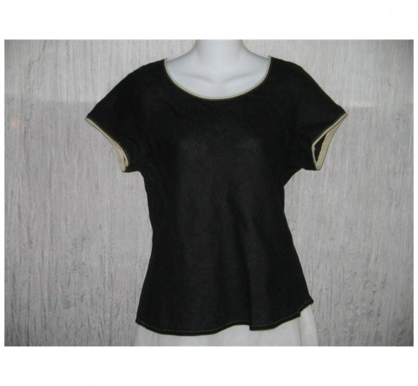 Solitaire Shapely Black Bias Cut Linen Pullover Shirt Tunic Top Medium