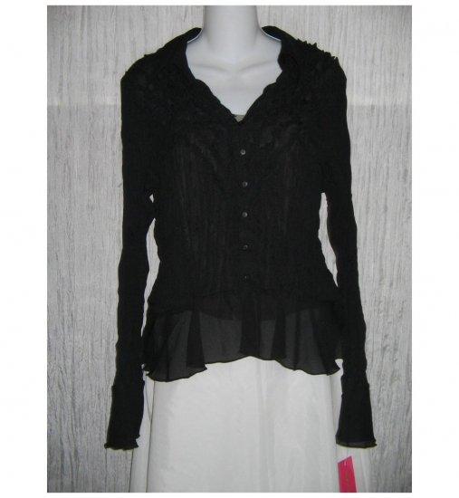 NWT Sunny Leigh Shear Black Crinkled Button Shirt Top X-Large XL