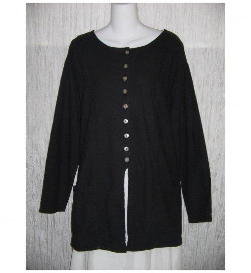 Eucalyptus Long Black Cotton & Linen Button Jacket Tunic Top Medium M